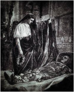 Gaius Octavianus beser Alexanders mumie. Gravyr från 1800-talet av Showmer