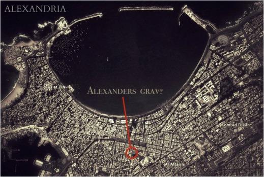 Positionen för soma och Alexanders den Stores grav i Alexandria?