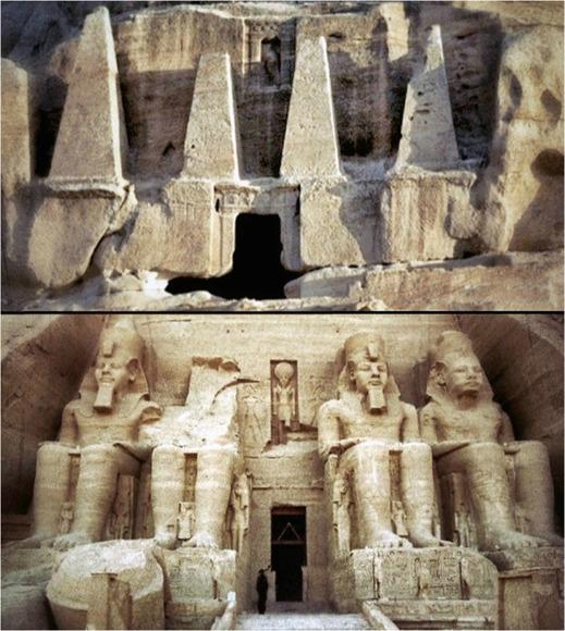 Obeliskgraven i Petra (överst) och Ramses tempel vid Abu Simbel (underst). Ser du likheten?