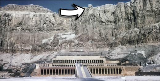 Klippformationen över drottning Hatshepsuts dödstempel vid Deir el-Bahri i Egypten