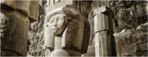 Gudinnan Hathor i Hatshepsuts dödstempel
