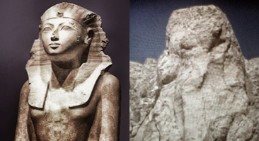 En byst av Hatshepsut i jämförelse med klippan över hennes tempel