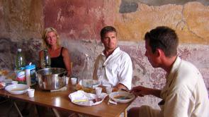 Lunch i Caecilius Iucundus matsal, Lena Kristensson, Richard Holmgren & Michel Hagedorn.