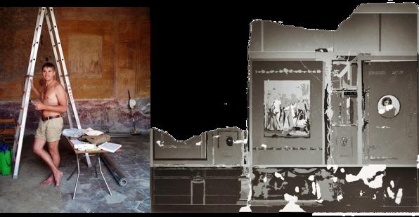 """Freskodokumentation av Caecilius Iucundus matsal (triclinium). Centralmotiv med prins Paris """"skönhetstävling"""", vilken ska avgöra vem som är vackrast av Afrodite, Hera och Athena (dokumenterad av Richard Holmgren, Berit Kaussel och Anneli Blom)"""