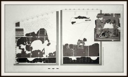 """Exempel på en detaljanalys och rekonstruktion av urblekta freskomålningar i huset """"Casa degli Epigrammi greci"""". Illustration: ARCDOC"""