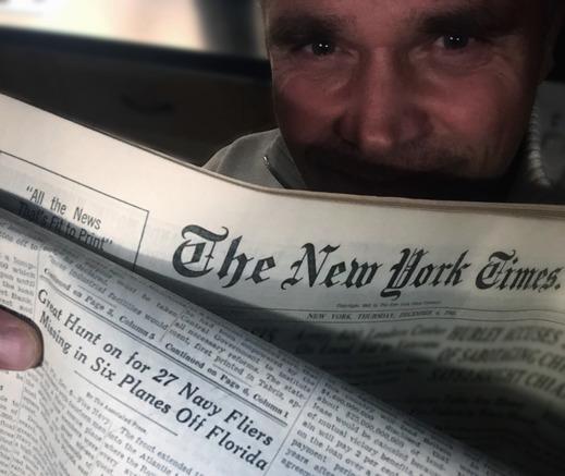 Glad att jag sparade tidningen - Flight 19:s försvinnande. New York Times, 6 december 1945