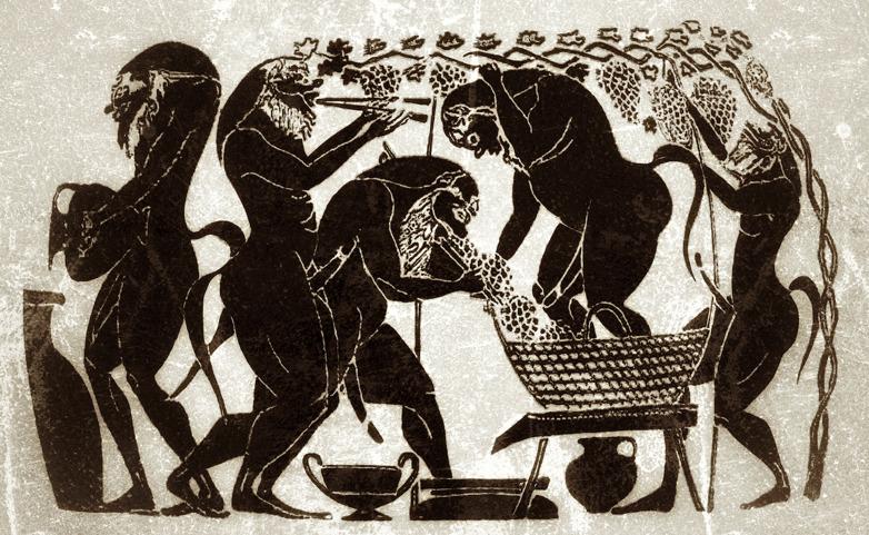 Black-figure amphora shows ancient harvest- and pressing methods with baskets, jars and dolia.  lllustration: Richard Holmgren, VAAP.