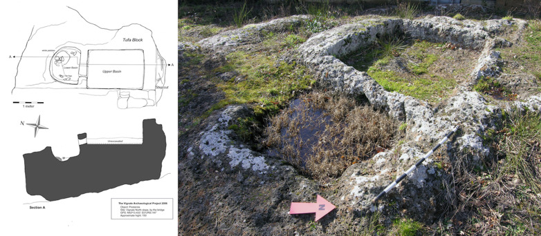 Technical drawing of a wine press (pestarola) with two vats cut into a block found on the northern slope of Vignale. The photo to the right shows a bedrock cut press. Illustration and photo: Richard Holmgren, VAP.
