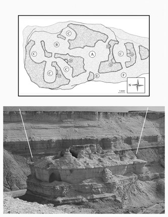 Bastionklippan Qasr Elias med sin rumsindelning. Illustration: Anders Kaliff & Richard Holmgren