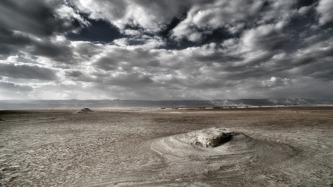 Vy över Lisanhalvön i Döda havet. Foto: Richard Holmgren