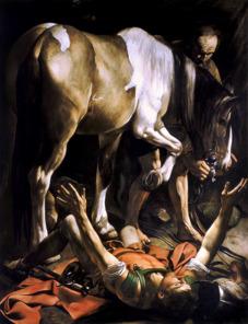 Saul, den blivande aposteln Paulus, överväldigas av Jesus på vägen till Damaskus. Olja på canvas av Caravaggio, 1601. Foto: Richard Holmgren