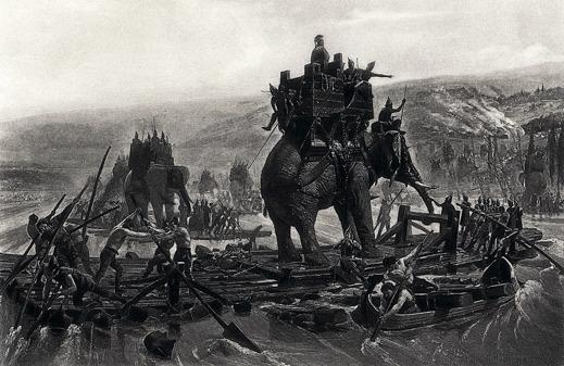 Hannibals armé tar sig över floden Rhone för att vidare nå Alperna. Målning av Henri-Paul Motte, 1878.