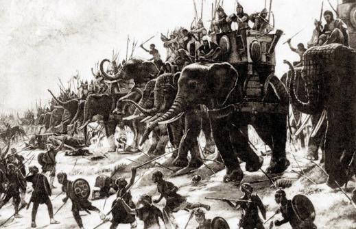 Slaget i Zama vilket avbildar kartagiska elefanter i strid - dock felaktigt utrustade med torn på sina ryggar. Målning av Henri-Paul Motte, 1890.