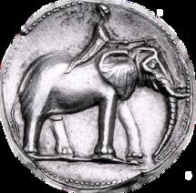 Den mindre skogselefanten avbildad på ett kartagiskt mynt