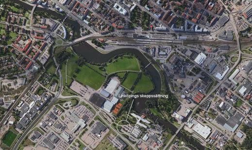 Här låg Linköpings skeppssättning - det vill säga ett stenkast från dagens SAAB Arena