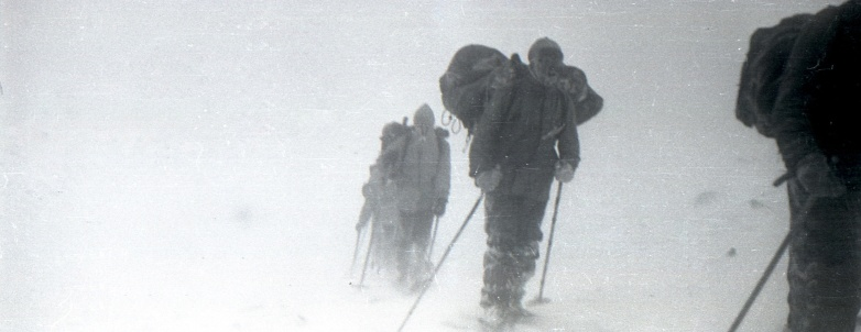 11) One of the last photos taken by the Dyatlov group - approaching their final campsite on Kholat Syakhl. Strong wind is already present. Photo: Dyatlov foundation.
