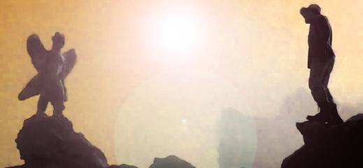 En ikonisk filmscen. Fader Merrin konfronterar Pazuzu i staden Hatra. Illustration: Efterbearbetad stillbild från filmen Exorcisten.
