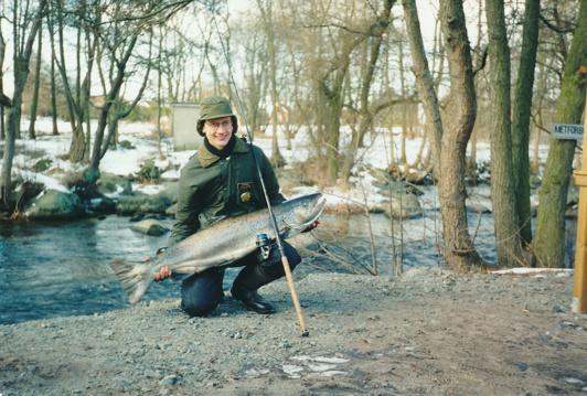 Hybrid (korsning lax/havsöring), 15.75 kg! Största fisken i Skräbeån.