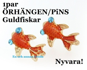 1par GULDFiSK PiNS/ÖRHÄNGEN -