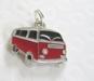 Välj färg! Retro Folkabuss Buss hänge till halsband/armband - 1st Röd Buss med svarta rutor