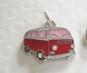 Välj färg! Retro Folkabuss Buss hänge till halsband/armband - 1st Röd Buss med rosa rutor