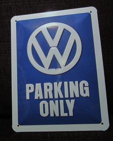 VW PARKING ONLY METALLSKYLT 20x15cm  Bubbla/Folkvagn/Buss typ 1 typ 2  -