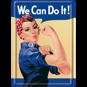 We Can Do It! METALLSKYLT/VYKORT 10x14,5cm  Feminist