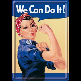 We Can Do It! METALLSKYLT/VYKORT 10x14,5cm  Feminist -