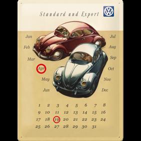 Stor (Evighets) kalender VOLKSWAGEN METALLSKYLT 29x39,5cm Bubbla typ 1 -