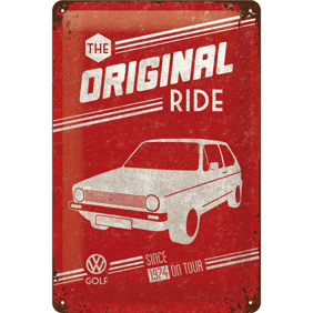 The Original RIDE METALLSKYLT 20x30cm GOLF 1 VW VOLKSWAGEN -