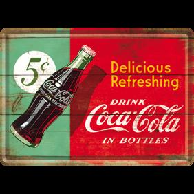 Coca Cola Delicious Refreshing METALLSKYLT/VYKORT  10x14,5cm  -