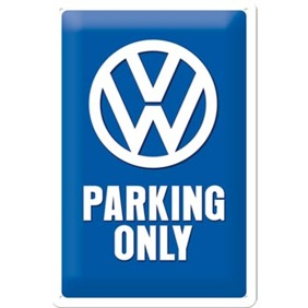 VW PARKING ONLY METALLSKYLT 20x30cm Bubbla/Folkvagn/Buss/Golf typ 1 typ 2 -