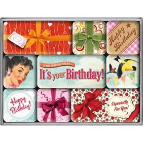 SET MAGNETER 9-pack Happy Birthday Nostalgic  -