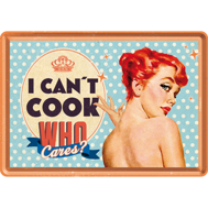 I CAN´T COOK WHO cares? METALLSKYLT/VYKORT 10x14,5cm  Feminist