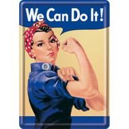 We Can Do It! METALLSKYLT/VYKORT 10x14,5cm  Feminist