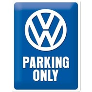 Stor VOLKSWAGEN PARKING ONLY METALLSKYLT 29x39,5cm Bubbla typ 1 typ 2 Golf Buss