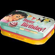 1st Plåtask med sockerfria mintpastiller Happy Birthday (Grattis) RETRO