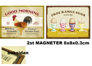 2st MAGNETER (metall) TUPP GOOD MORNING + ÄGG FREE RANGE EGGS EVERY DAY HÖNS/ANKA