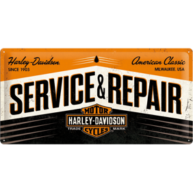 Stor Harley-Davidson SERVICE & REPAIRE METALLSKYLT 25x50cm MC -