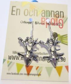 1par Rådjur/Hjort/Ren ÖRHÄNGEN örkrok i silver -