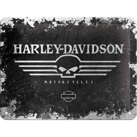 Harley-Davidson MOTORCYCLES - METALLSKYLT 20x15cm MC SKALLE -
