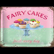 FAIRY CAKES / MUFFINS METALLSKYLT 20x15cm