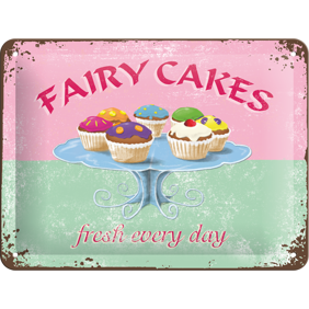 FAIRY CAKES / MUFFINS METALLSKYLT 20x15cm -