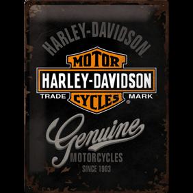 Stor Harley-Davidson Genuine METALLSKYLT 29x39,5cm -
