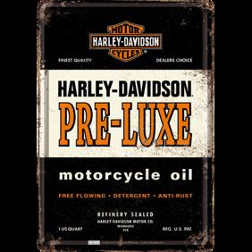Harley-Davidson PRE LUXE motorcycle oil METALLSKYLT/VYKORT 10x14,5cm  -