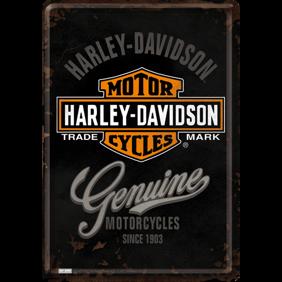Harley-Davidson MOTORCYCLES Genuine METALLSKYLT/VYKORT 10x14,5cm  -