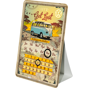 VW - LETS Get Lost Be Prepared to start your own adventure! METALLSKYLT/VYKORT/Kalender 10x14,5cm Buss Folka -