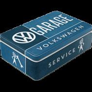 VW GARAGE SERVICE VOLKSWAGEN BURK METALL 7,3x15,6x23cm Folkvagn/Buss typ 1 2 Golf