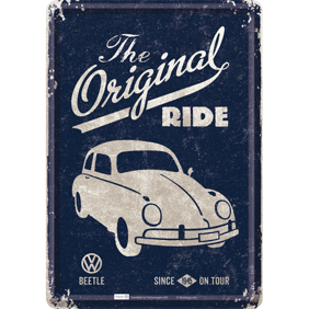 VW The Original Ride METALLSKYLT/VYKORT 10x14,5cm Folkvagn Bubbla/Buss/Golf - Bubbla