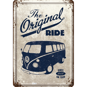 VW The Original Ride METALLSKYLT/VYKORT 10x14,5cm Folkvagn Bubbla/Buss/Golf - Buss